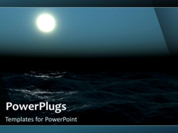 PowerPoint Template - Nature video template of ocean waves flowing at night in the moonlight.
